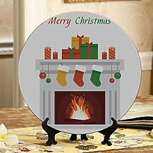 Weihnachtsszene Kamin Keramikplatten Dekor