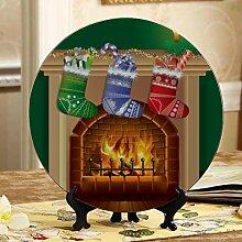 Weihnachtsszene Kamin kleine Keramikplatte