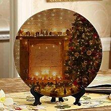 Weihnachtsszene Kamin Platte Dekor bunte Platten