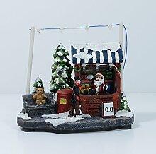 """Weihnachtsszene """"Verkaufsstand mit Weihnachtsmann"""" mit 7 LED's, 13 cm hoch"""
