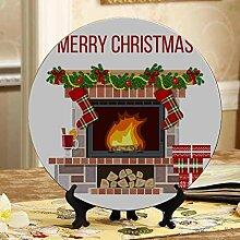 Weihnachtsszenen-Kamin-bunte Platten-keramische