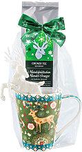 Weihnachtstasse mit Grüntee Mandelplätzchen