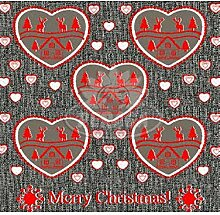 Weihnachtstasse mit Herzen und Schalen MERRY