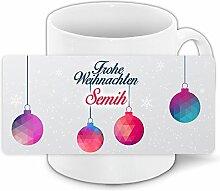 Weihnachtstasse mit Namen Semih und modernem Motiv
