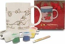 Weihnachtstasse/Weihnachtsbecher zum Anmalen - Malset mit Pinsel und Farben