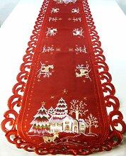 Weihnachtstischdecke-Accessoires – Weihnachtsläufer 170 cm – Rentier mit weihnachtlicher Landhausstickerei (rot)