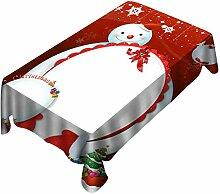 Weihnachtstischdecke mit Schneemann mit Hut und