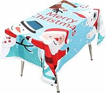 Weihnachtstischdecke,Moonuy Weihnachten Gedruckt Weihnachtsmann Stoff Tischdecke Tapisserie Party Picknick Tischdecke Wohnkultur Cartoon Tischdecke 195 cm * 140 cm (Blau)