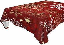 Weihnachtstischdecke, Rot/Gold / Weiß mit
