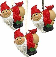 Weihnachtsverzierung - Gartenzwerge Figur - Loonie Moonie Gnome Set - Frech Zwerge - Mooning Zwerge Statuen