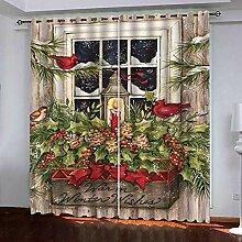 Weihnachtsvorhang,3D Druck Blume Baum Kerze Licht