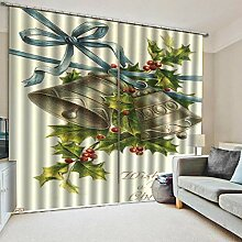 Weihnachtsvorhang,3D-Druck Glocken Baumwolle