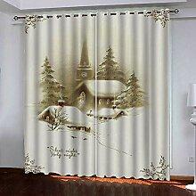 Weihnachtsvorhang,3D Druck Grau Schnee Szene