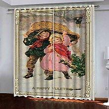 Weihnachtsvorhang,3D Druck Kleine Junge Junge