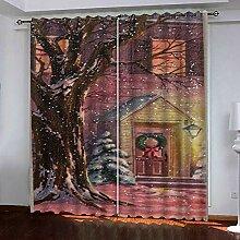 Weihnachtsvorhang,3D Druck Rote Burg Baumwolle