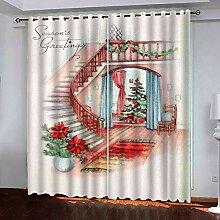 Weihnachtsvorhang,3D Druck Rote Treppe Baumwolle