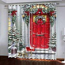 Weihnachtsvorhang,3D Druck Rote Tür Baumwolle