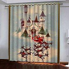 Weihnachtsvorhang,3D Druck Schloss Baumwolle