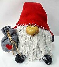 Weihnachtswichtel/Dekowichtel/Türstopper/Stoffwichtel rot 25cm