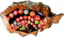 WEILON creative 3D Stereo Wandsticker Wandbild Straße zum chinesischen Neujahrsfest firecracker Perspektive Hintergrund tapete wand aufkleber aufkleber für Schlafzimmer Wohnzimmer Sofa grüne Farbe #003 , D