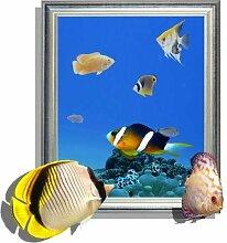 WEILON creative 3D Stereo Wandsticker Wandbild Tapete im Hintergrund des Hotel Schlafzimmer Wohnzimmer Fernseher Sofa wc Perspektive HD Aufkleber Wandaufklebern pigment Grün #014 , Fisch