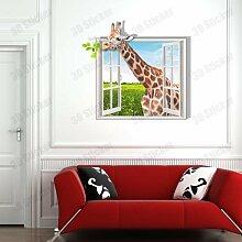 WEILON creative 3D Stereo Wandsticker Wandbild Tapete im Hintergrund des Hotel Schlafzimmer Wohnzimmer Fernseher Sofa wc Perspektive HD Aufkleber Wandaufklebern pigment Grün #008 , Giraffe 1