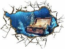 WEILON creative 3D Stereo Wandsticker Wandbild Tapete im Hintergrund des Hotel Schlafzimmer Wohnzimmer Fernseher Sofa wc Perspektive HD Aufkleber Wandaufklebern pigment Grün #015 , Schatz