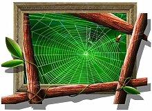 WEILON creative 3D Stereo Wandsticker Wandbild Tapete im Hintergrund des Hotel Schlafzimmer Wohnzimmer Fernseher Sofa wc Perspektive HD Aufkleber Wandaufklebern pigment Grün #015 , Spinnennetz