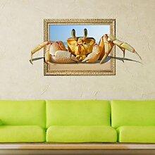 WEILON creative 3D Stereo Wandsticker Wandbild Tapete im Hintergrund des Hotel Schlafzimmer Wohnzimmer Fernseher Sofa wc Perspektive HD Aufkleber Wandaufklebern pigment Grün #009 , Krabbe