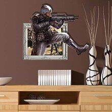 WEILON creative 3D Stereo Wandsticker Wandbild Tapete im Hintergrund des Hotel Schlafzimmer Wohnzimmer Fernseher Sofa wc Perspektive HD Aufkleber Wandaufklebern pigment Grün #009 , Bandit 3