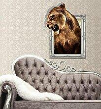 WEILON creative 3D Stereo Wandsticker Wandbild Tapete im Hintergrund des Hotel Schlafzimmer Wohnzimmer Fernseher Sofa wc Perspektive HD Aufkleber Wandaufklebern pigment Grün #007 , Löwe 1