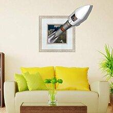 WEILON creative 3D Stereo Wandsticker Wandbild Tapete im Hintergrund des Hotel Schlafzimmer Wohnzimmer Fernseher Sofa wc Perspektive HD Aufkleber Wandaufklebern pigment Grün #013 , Rakete 2