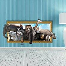 WEILON creative 3D Stereo Wandsticker Wandbild Tapete im Hintergrund des Hotel Schlafzimmer Wohnzimmer Fernseher Sofa wc Perspektive HD Aufkleber Wandaufklebern pigment Grün #008 , Tier