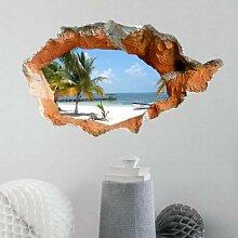WEILON creative 3D Stereo Wandsticker Wandbild Tapete im Hintergrund des Hotel Schlafzimmer Wohnzimmer Fernseher Sofa wc Perspektive HD Aufkleber Wandaufklebern pigment Grün #009 , Strand