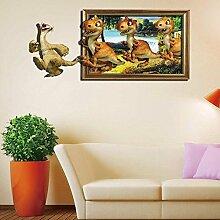 WEILON creative 3D-sticker wand aufkleber Stock kinder cartoon Sticker dekorative Wand Aufkleber Wandbild Tapete im Hintergrund des Hotel Schlafzimmer Wohnzimmer Sofa Perspektive grüne Farbe #004 , F