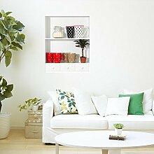 WEILON kreative Simulation von 3D Stereo Wandsticker Wandbild Tapete im Hintergrund der Zimmer schmücken das Wohnzimmer Sofa simulierten Porzellan Bücherregal Schrank Schuh Regalen Fensteraufkleber grüne Farbe #002 , G