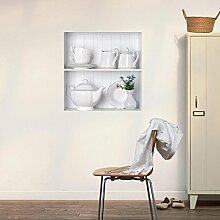 WEILON kreative Simulation von 3D Stereo Wandsticker Wandbild Tapete im Hintergrund der Zimmer schmücken das Wohnzimmer Sofa simulierten Porzellan Bücherregal Schrank Schuh Regalen Fensteraufkleber grüne Farbe #002 , H