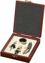 Wein-Zubehör Set - Sierra - 4-tlg. in Holzbox Weinöffner Wein Accessoire-Box