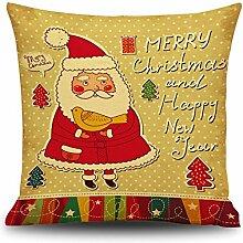 Weinachten Sofa Deko Kissenbezug Geschenkidee 45x45 cm Leinen für Schaufester Kindergarten Kinderzimmer Kissen Hüllen, Weihnachtsmann