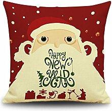 Weinachten Sofa Deko Kissenbezug Geschenkidee 45x45 cm Leinen für Schaufester Kindergarten Kinderzimmer Kissen Hüllen, Weihnachsmann 2
