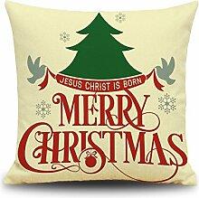 Weinachten Sofa Deko Kissenbezug Geschenkidee 45x45 cm Leinen für Schaufester Kindergarten Kinderzimmer Kissen Hüllen, Merry Christmas