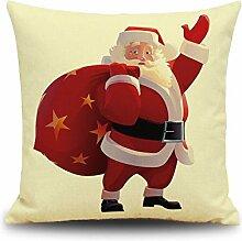 Weinachten Sofa Deko Kissenbezug Geschenkidee 45x45 cm Leinen für Schaufester Kindergarten Kinderzimmer Kissen Hüllen, Weihnachtsmann mit Geschenken