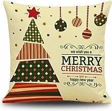Weinachten Sofa Deko Kissenbezug Geschenkidee 45x45 cm Leinen für Schaufester Kindergarten Kinderzimmer Kissen Hüllen, weihnachtsbaum
