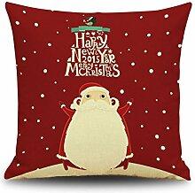 Weinachten Sofa Deko Kissenbezug Geschenkidee 45x45 cm Leinen für Schaufester Kindergarten Kinderzimmer Kissen Hüllen, Weihnachtsmann 3