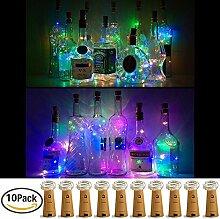 Weinflasche Lichter mit Kork, 10er Batterie