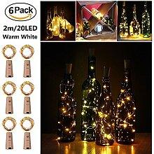 Weinflasche Lichterkette Kork 6Packung,Akku Powered 20 LED Flaschenlicht Lichterketten,78in/2m,Silber Coated Kupferdraht Flaschenlichter für Party ,Dekoration,Weihnachten,Halloween,Hochzeit warmweiß