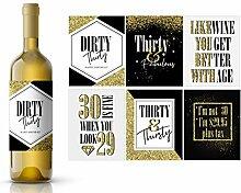 Weinflaschen-Etiketten, 30. Geburtstag,