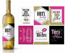 Weinflaschenetiketten zum 30. Geburtstag, lustige