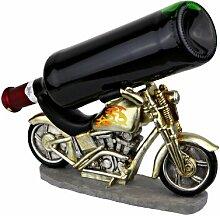 Weinflaschenhalter Motorrad Chopper handbemalt -