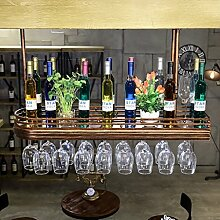 weingestell Rotwein-Rack-Bar Weinregal Weinglas Rahmen hängende Retro-Becher Rotwein Glas Rahmen umgedreht Wein Kleiderbügel mit Lichter Weinregale ( größe : 60*27cm )